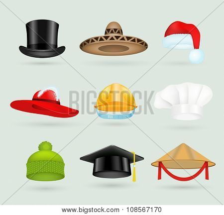 Set of 3d top hats different proffesions. Cartoon top hats. Baseball cap, cook hat, chef hat, santa hat. Hat icons vector collection. Hats isolated silhouette. Autumn, winter hat, worker hat