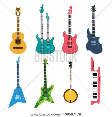 Acoustic and electric guitars vector icons set. Guitar isolated icons vector illustration. Guitars isolated on white background. Guitars vector silhouette. Music, concert, sound, fun, guitars. Vector