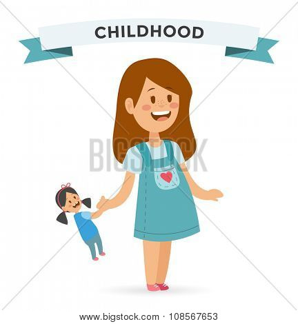 Cute little girl with doll in cute dress. Girl playing doll isolated on white background. Girl smiling face. Vector girl illustration. Young girl concept. Chilhood, kids, young people. teenagers
