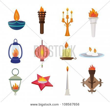Flat style candles and flames vector collection. Candles vector silhouette isolated on shite background. Wall flame, star memory flame, street flame lamp, diwali festival candle. Candle vector icons