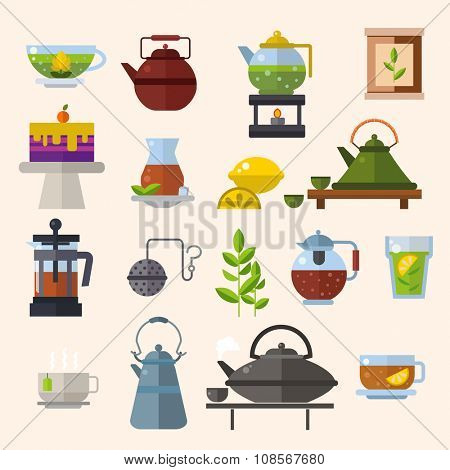 Tea ceremony vector concept illustration. Chinese tea ceremony equipment icons isolated on white background. Tea time, tea leaves, tea pot, tea tools. Tea time vector symbols. Tea glass, green tea