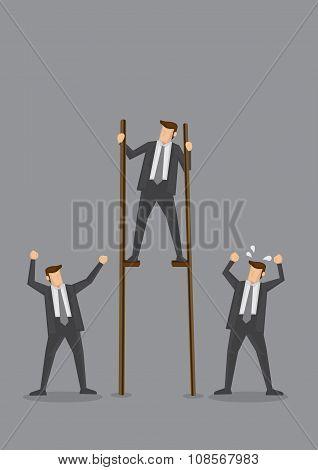 Businessman On Stilts Conceptual Vector Illustration