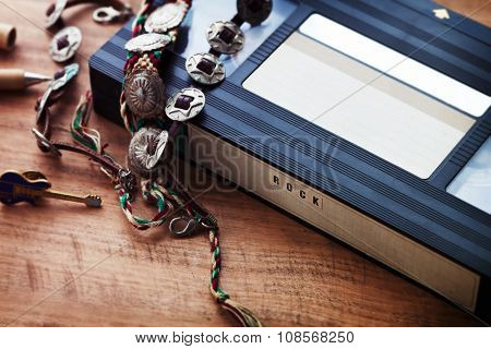 Music video tapes of the 80's. VHS video cassette or cartridge with