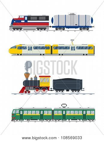 Modern and vintage trains vector collection. Trains vector illustration on white background. Trains icons or silhouette isolated on white. Old and modern trains vector on railway. Travle by trains