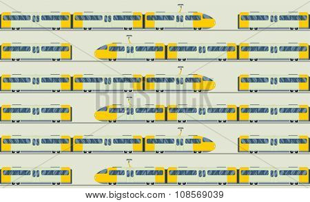 Modern fast trains vector seamless pattern. Trains vector illustration on white background. Trains icons or silhouette isolated seamless pattern. Modern city trains vector on railway. Travle by trains