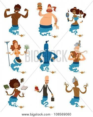 Cartoon genie support people coming out of a magic lamps. Arabian genie, businessman genie, girl genie, boy genie. Genie vector people isolated on white background. Legend genie people collection set