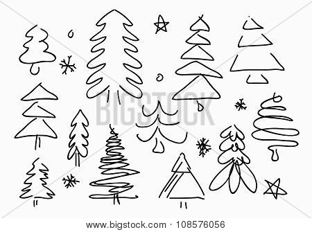 Sketched Christmas Trees