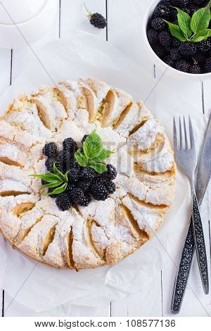Apple Pie With Fresh Blackberry And Icing Shugar