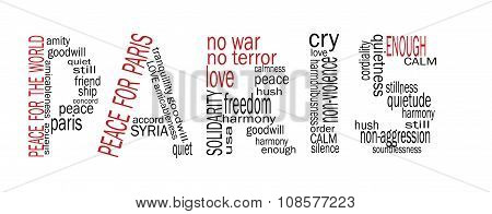 Paris. Peace For Paris, Peace For The World, Word-cloud Style