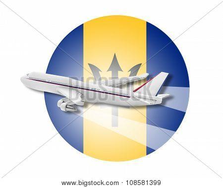 Plane and Barbados flag.