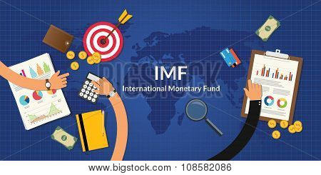imf international monetary fund concept with team work and graph chart poster