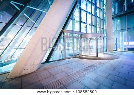 Entrance To A Modern Building At Night, In Vienna, Austria.