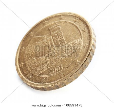 Ten cent coin isolated on white background poster
