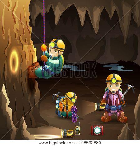 Speleologists in cave 3d background poster