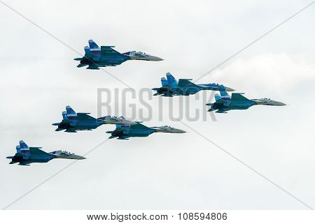 Military fighters SU-27 at demonstrative flight