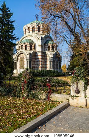 The Chapel-mausoleum St. George the Victorious Pleven Bulgaria. In memory of the perished Russian and Romanian warriors in the battles at Pleven Russo-Turkish war for the liberation of Bulgaria poster