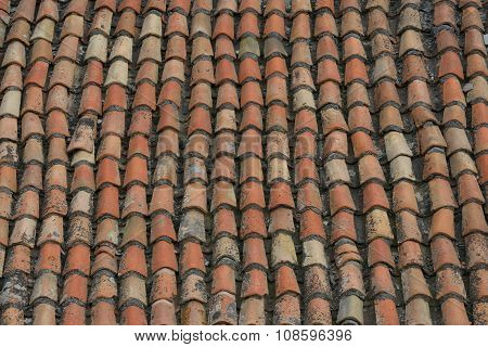 Close-up View Of Old Tiled Roof As Background.