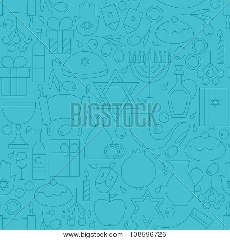 Thin Line Holiday Happy Hanukkah Blue Seamless Pattern
