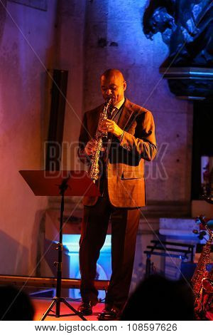 CRACOW POLAND - OCTOBER 29 2015: Branford Marsalis sax playing live music at The Cracow Jazz All Souls Day Festival in Saint Catherine Church. Cracow. Poland