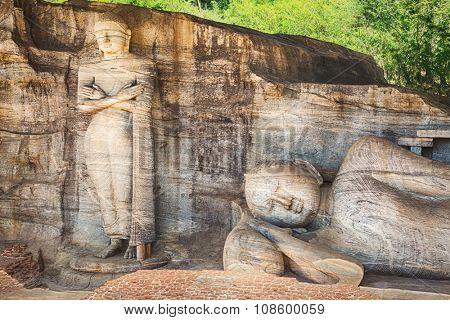 The Gal Vihara in the world heritage city Polonnaruwa, Sri Lanka.