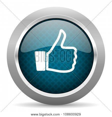 like blue silver chrome border icon on white background