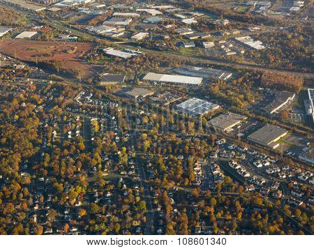 aerial view of Newark, New Jersey during autumn season