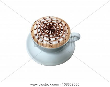Cup Of Mocha Coffee With Foam Isolated On White