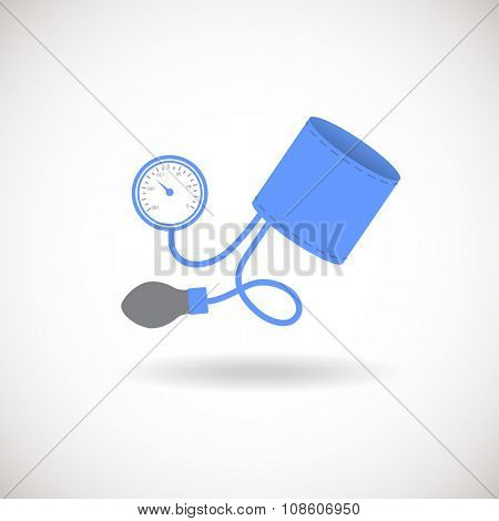 Blue and Grey Tonometer Icon. Blood Pressure Checker Sign. Cam be used  for logotype, logo, web site, mobile application. Flat  style icon.