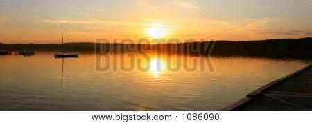 Evening Lake - Panoramic View