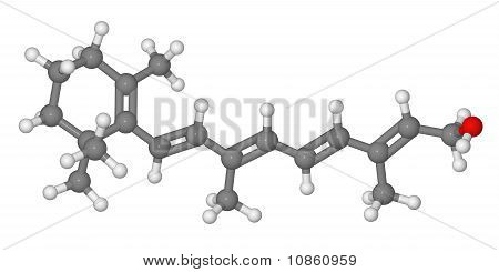 Ball And Stick Model Of Retinol Molecule
