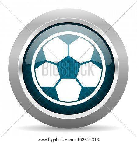 soccer blue silver chrome border icon on white background