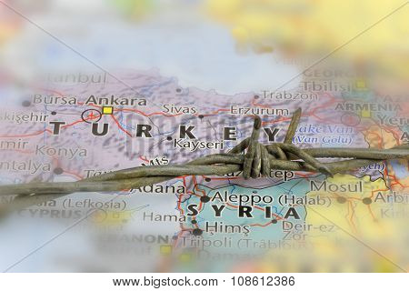 Turkey And Syria Border.