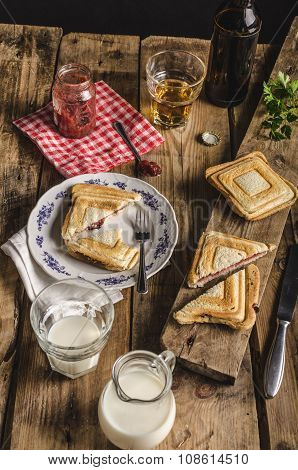 Old Bohemian toast with jam and beer autumn photo poster