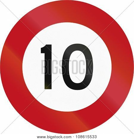 New Zealand Road Sign R1-1 - 10 Kmh Limit