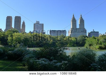 The Lake of Central Park and New York Upper West Side