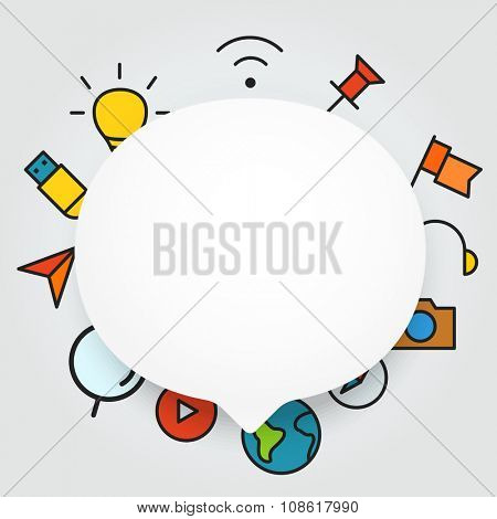 Speech cloud template with different icons. Add your content on it
