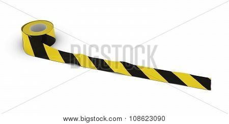 Yellow And Black Striped Barrier Tape Roll Unrolled Across White Floor
