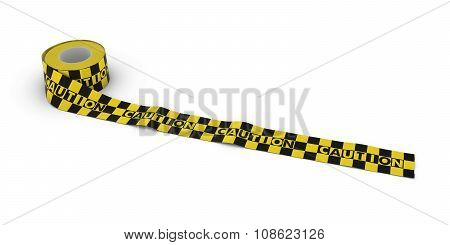 Yellow And Black Checkered Caution Tape Roll Unrolled Across White Floor