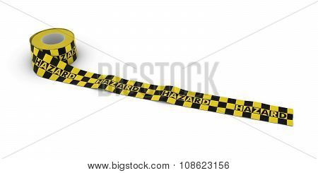 Yellow And Black Checkered Hazard Tape Roll Unrolled Across White Floor