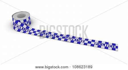 Blue And White Checkered Police Tape Roll Unrolled Across White Floor