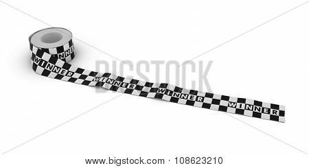Black And White Checkered Winner Tape Roll Unrolled Across White Floor