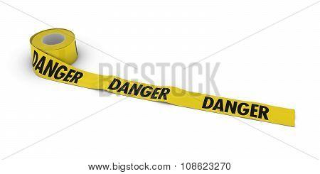 Danger Tape Roll Unrolled Across White Floor
