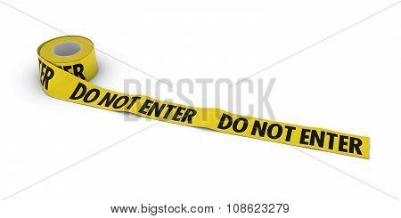Do Not Enter Tape Roll Unrolled Across White Floor