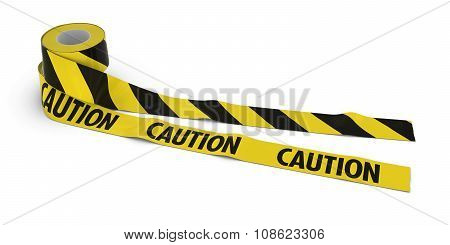 Striped Barrier Tape And Caution Tape Rolls Unrolled Across White Floor