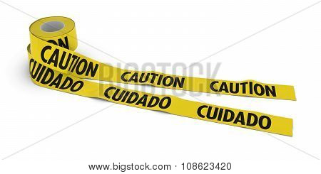 English And Spanish Caution And Cuidado Tape Rolls Unrolled Across White Floor