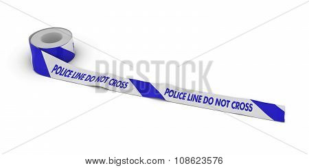 Blue And White Striped Police Line Do Not Cross Tape Roll Unrolled Across White Floor