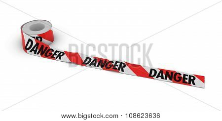 Red And White Striped Danger Tape Roll Unrolled Across White Floor