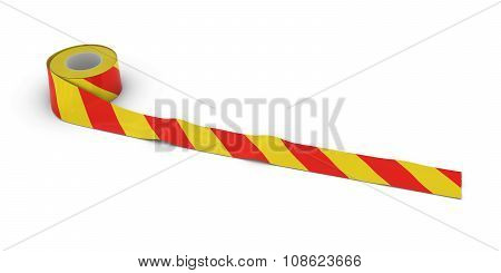 Red And Yellow Striped Barrier Tape Roll Unrolled Across White Floor