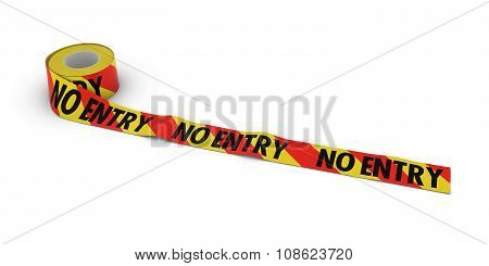 Red And Yellow Striped No Entry Tape Roll Unrolled Across White Floor