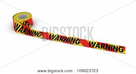 Red And Yellow Striped Warning Tape Roll Unrolled Across White Floor